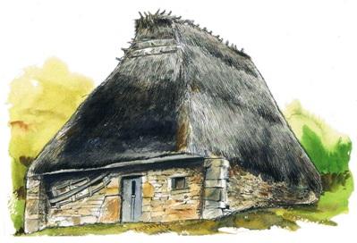 Cabaña con cubierta vegetal